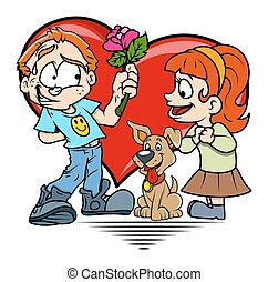 Boy Presenting Flower to a Girl