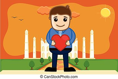 Lover Boy at Taj Mahal - Cartoon Vector Illustration