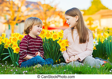Two cute kids, little boy and his big sister, playing in the park between yellow daffodils flowers at sunset