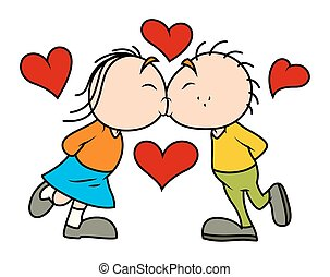 Funny Kissing Couple Character