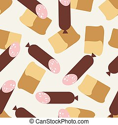 Seamless pattern sausage and bread.