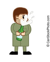 Man Holding a Champagne Bottle - Cartoon Man Holding and...