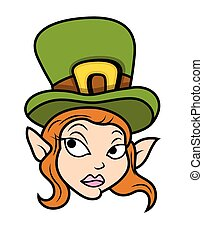 Elf Leprechaun Girl Character Face - Cartoon Surprised...