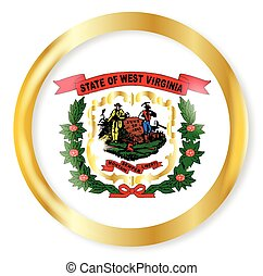 West Virginia Flag Button - West Virginia state flag button...
