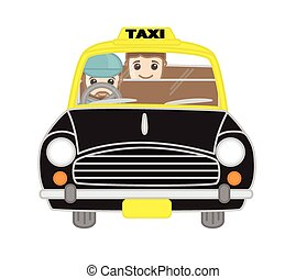 Cartoon Taxi Driver with Passenger