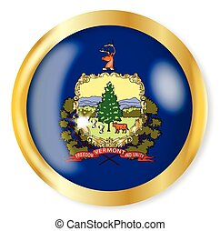 Vermont Flag Button - Vermont state flag button with a gold...