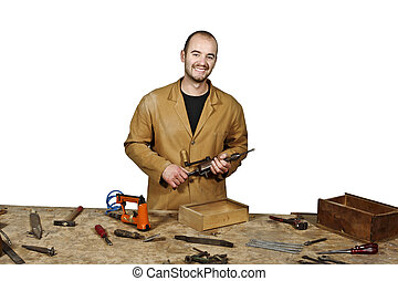 carpenter at work detail - fine portrait of craftsman at...