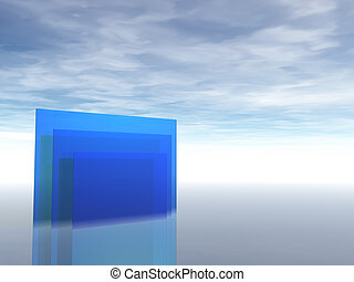 blue - abstract glass construction under blue sky - 3d...