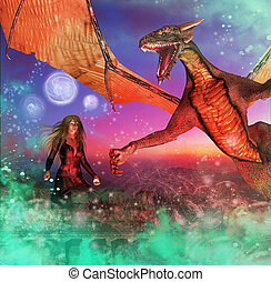 Dragon and Girl - Colorful blue, pink and turquoise fantasy...