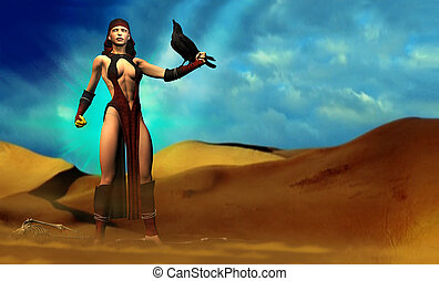 Fantasy Female and Crow - Holding a black crow on her arm, a...