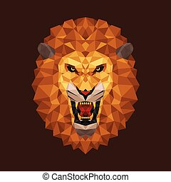 Lion head polygon geometric - Vector illustration concept of...