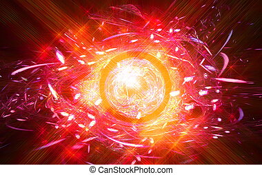 Abstract symbol in the form of fiery all-seeing eye.Fractal...