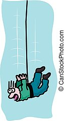 Bungee jump - Cartoon of a terrified individual bungee...