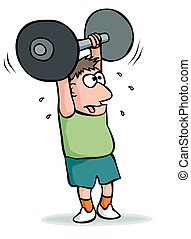 Cartoon weightlifter - A sweating weighlifter manages to...