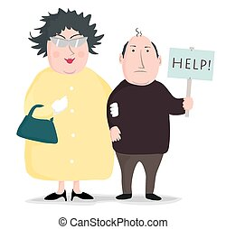 A husband's plea. - An overbearing wife stands next to her...