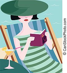 Paperback relaxation - A woman with a sunhat relaxes with a...