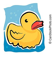 Sketchy rubber duck - A sketchy style image of a yellow...