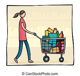 Woman pushing a shopping trolley - Cartoon style image of a...