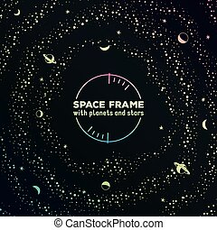 Retro futuristic frame with space, stars and planets - Retro...
