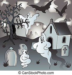 Scenery on cemetery with ghosts