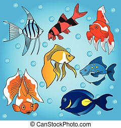 Sea fish collection - vector illustration