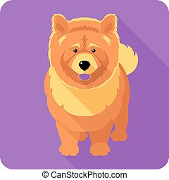 dog chow-chow icon flat design - Vector serious dog red...