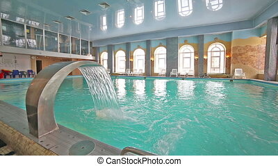 Swimming pool, clean water, interior, relaxing blue -...