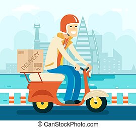 Courier Delivery on Scooter Symbol Icon Concept City Sky...
