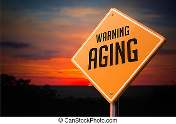 Aging on Warning Road Sign. - Aging on Warning Road Sign on...