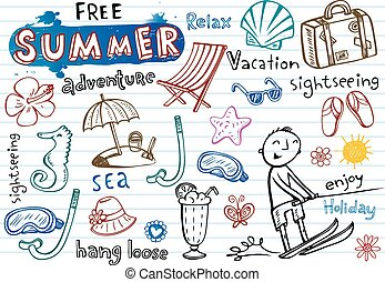 Summer doodles, vector illustrations