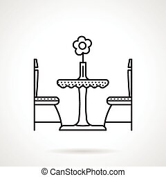 Table for two black line icon