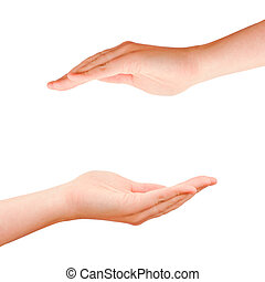 Two cupped hands on white background