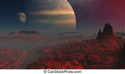 Gas giant, moon and the red planet - Stone rocky desert...
