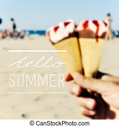 text hello summer and ice creams on the beach - the text...