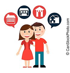 cute couple design, vector illustration eps10 graphic