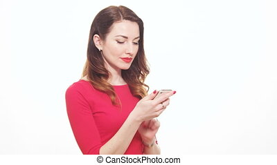 Attractive Female In Red Clothes Talking On The Mobile Phone...