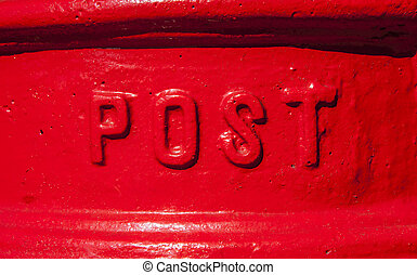 Post Box - A close-up of the word 'Post' on a red Post Box...