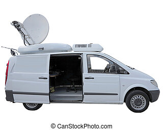 White tv newsman van with satellite dish antenna isolated...