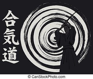 Aikido, the man with we throw on an abstract background