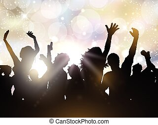 Party people background - Silhouettes of people dancing on a...