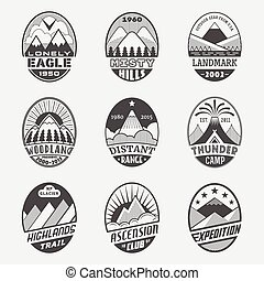 Mountain badge set2 - Set of alpinist and mountain climbing...