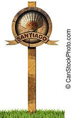 Santiago de Compostela - Wooden Sign - Pilgrimage wooden...
