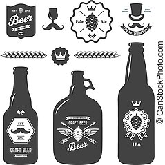 set of vintage craft beer bottles