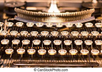 Old typewriter - Detail of old typewriter keys in retro...
