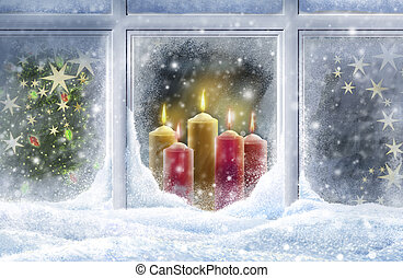 snowy window - Looking through a snowy window at candles