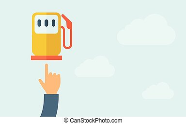 Hand pointing to gasoline pump