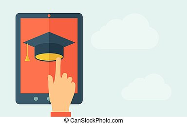 Touch screen tablet with graduation cap icon