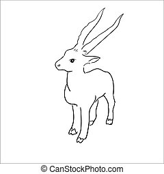 Vector stylized figure of a goat. Sketch Vector Illustration...