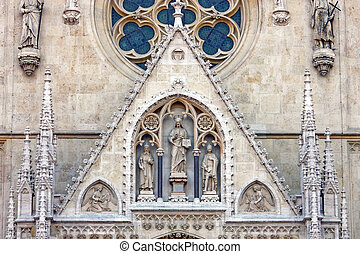 detalle, de, el, catedral, en, Zagreb, croacia,