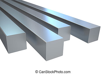 steel square rods - steel square roads isolated on white...